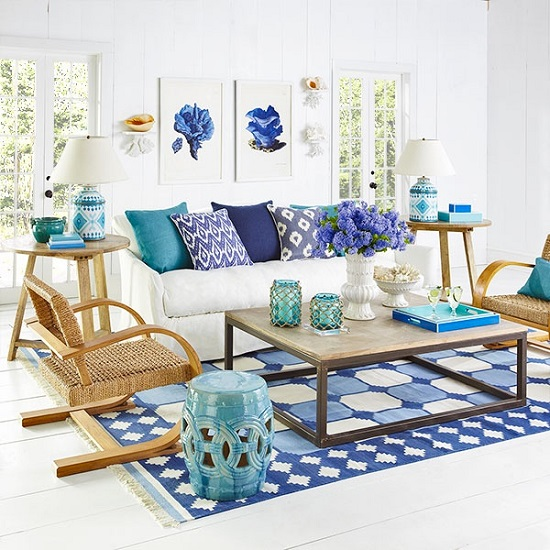 Ice Blue Living Room Accessories